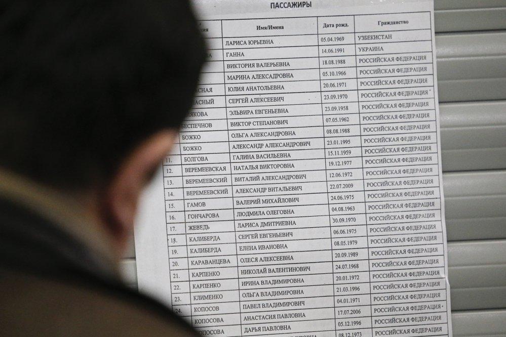 Список пассажиров самолёта