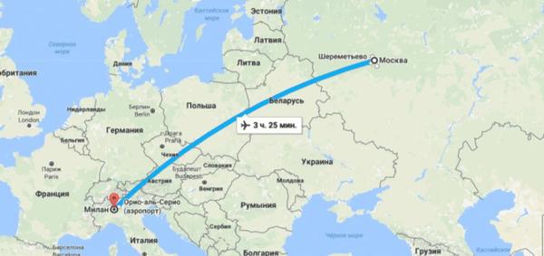 Карта полета Москва-Милан