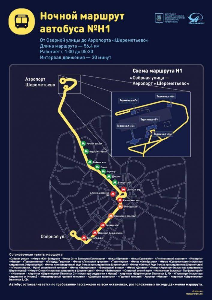 Автобус № Н1 маршрут