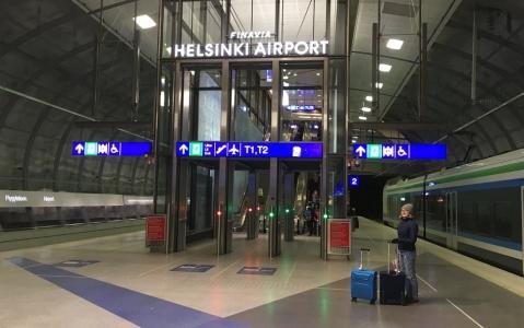 путь между аэропортом и жд-станцией Хельсинки