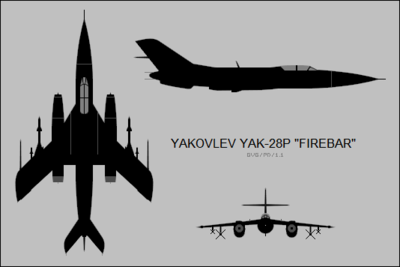 Yakovlev Yak-28P three-view silhouette.png