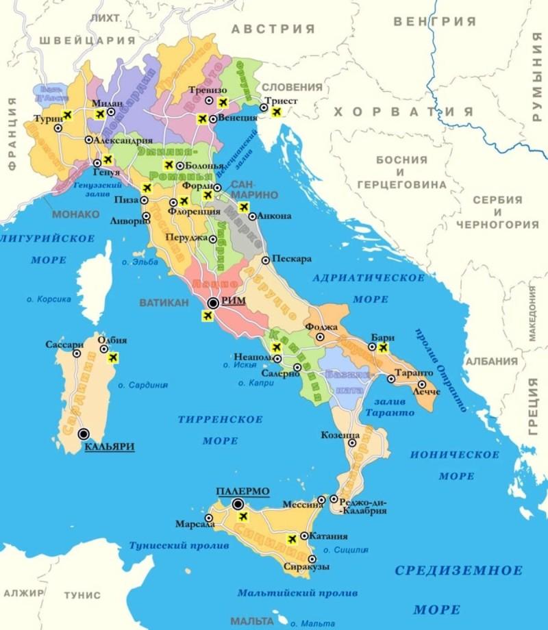 Карта аэропортов Италии