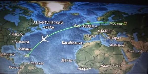 Карта перелета Москва - Доминикана