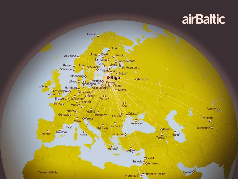 Дешево в Европу через Ригу с AirBaltic. Карта полетов