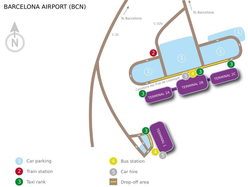 Схема терминалов аэропорта Барселоны Эль Прат