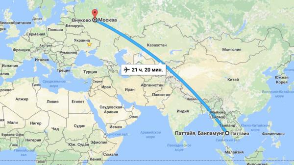 Длительность перелета из Москвы