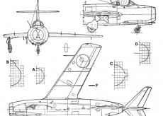 Самолет МИГ-15 Fagot - чертежи, габариты, рисунки