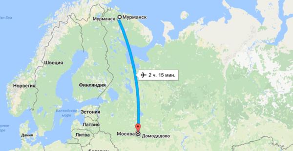 Прямой перелет из Москвы в Мурманск