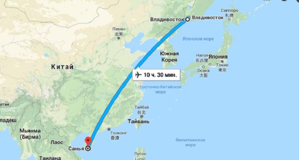 Прямые полеты Владивосток — Санья