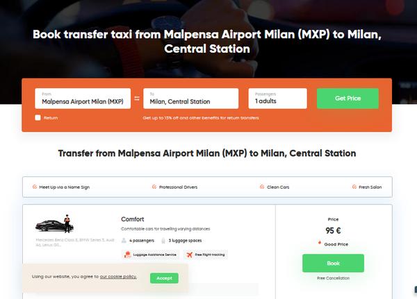 Заказ такси онлайн в аэропорту Мальпенса