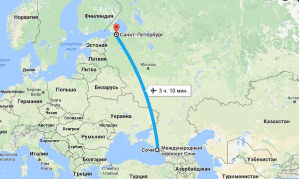 Сколько лететь до Сочи из Санкт-Петербурга прямым рейсом