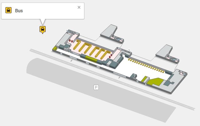 Остановка автобусов в аэропорту Жироны Коста-Брава