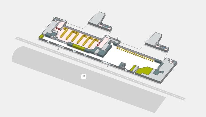 Нулевой уровень пассажирского терминала аэропорта Жироны
