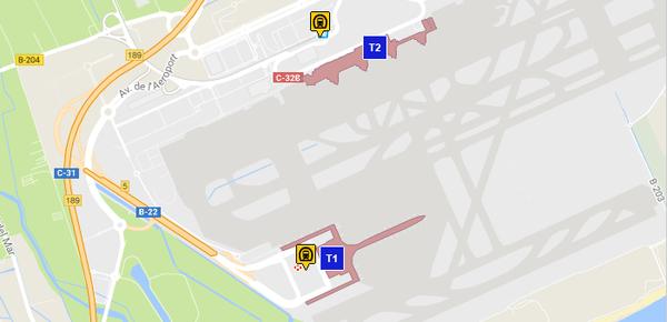 Станции метро в аэропорту Барселоны