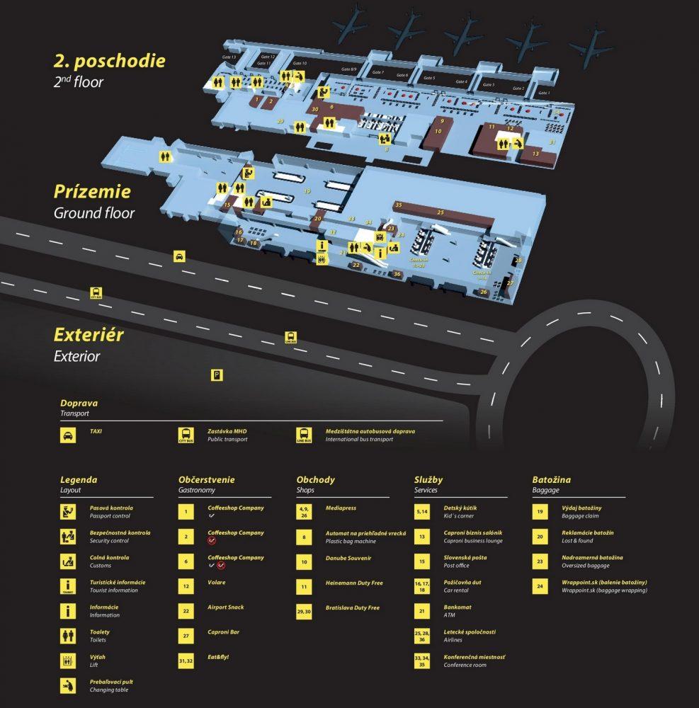 Схема аэропорта Братиславы