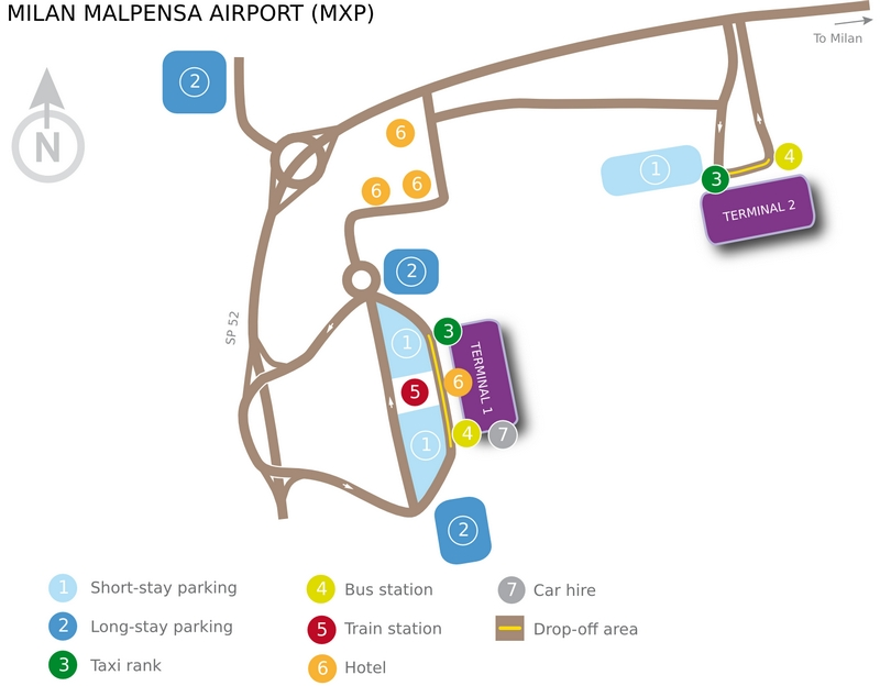 Схема аэропорта Мальпенса, Милан