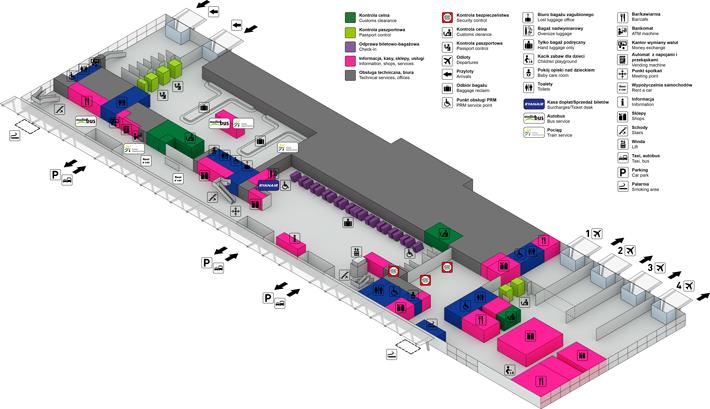 Схема пассажирского терминала аэропорта Модлин, 1 этаж