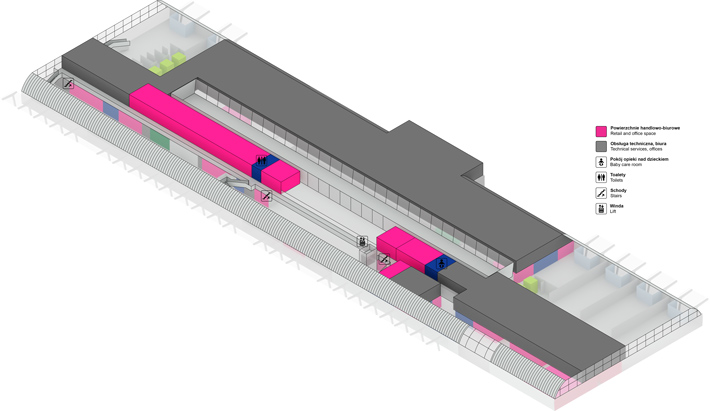Схема пассажирского терминала аэропорта Модлин, 2 этаж