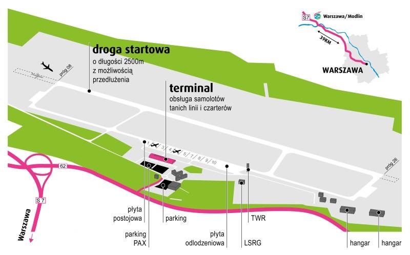 Схема аэропорта Модлин в Варшаве
