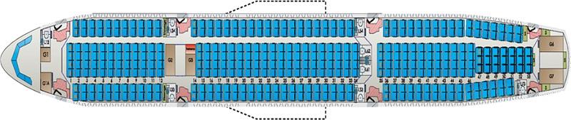 Схема салона Аэробус A330-300 (Airbus)