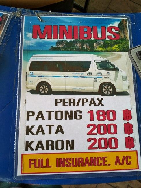 minibus phuket airport patong cost