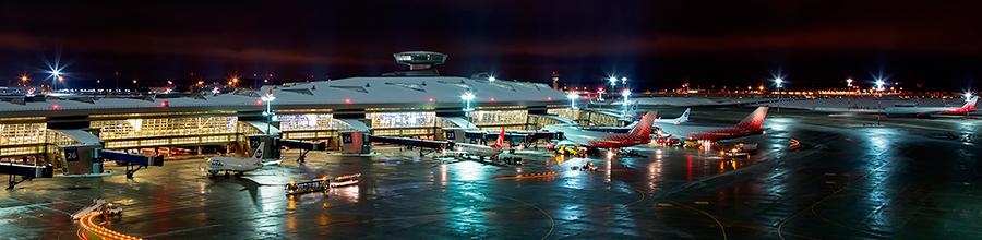Аэропорт Внуково (Москва) ночью