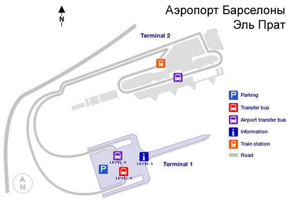 Карта аэропорта Барселоны