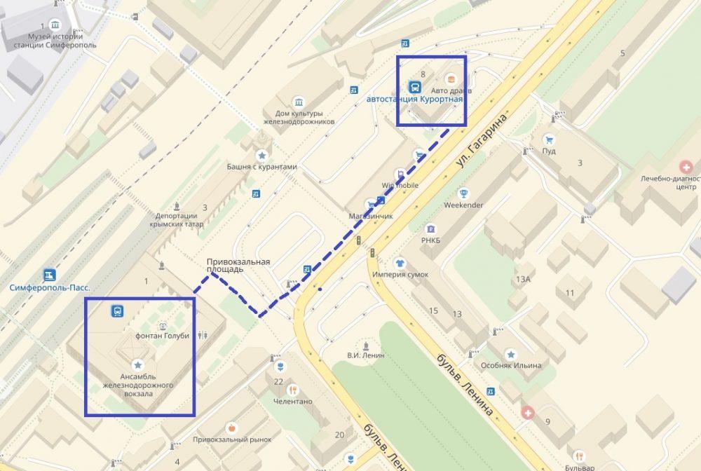 Расположение вокзала на карте