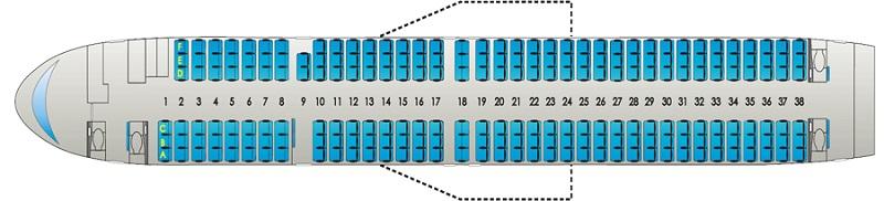 Схема салона Боинг 757-200 (Boeing)