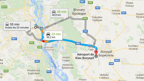 аэропорт Борисполь на карте Киева