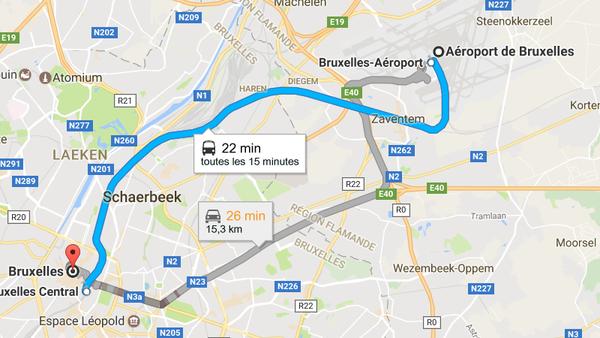 как добраться из аэропорта Брюсселя в центр Брюсселя