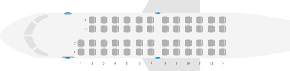 Схема салона самолета CRJ-200 авиакомпании Северсталь