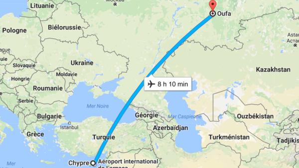 время перелета Уфа Кипр