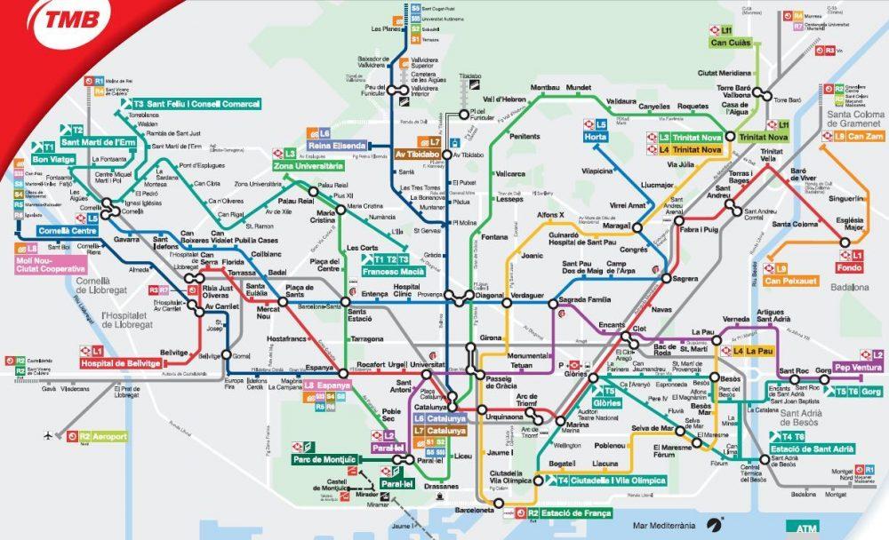 Карта метро Барселоны