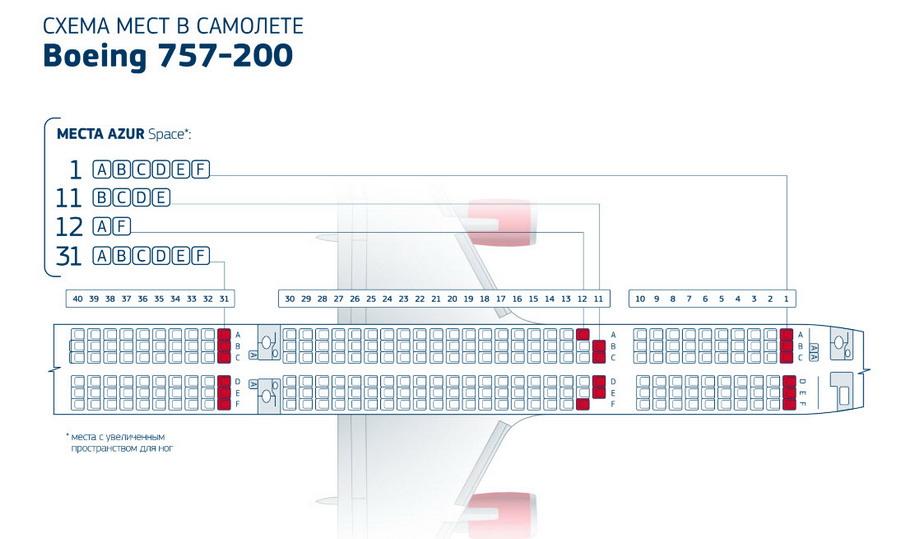 Схема салона Боинга 757-200