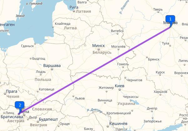 Расстояние между Москвой и Австрией