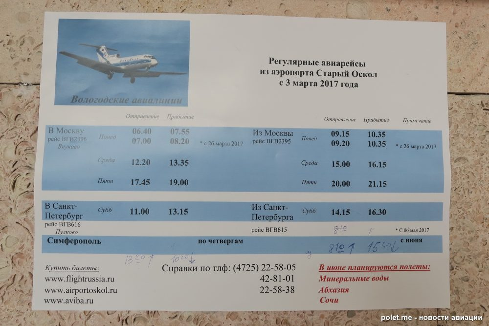 Расписание аэропорта Старый Оскол