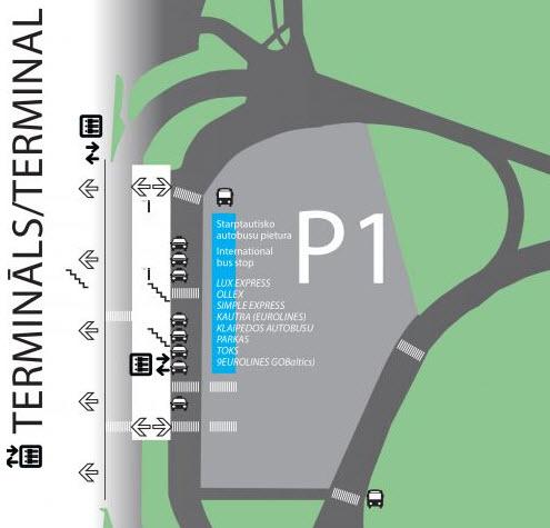 Схема остановок автобусов в аэропорту Риги
