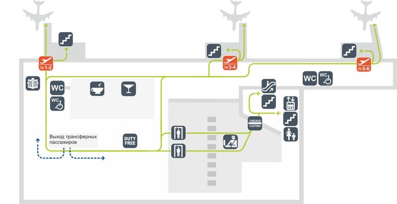 Схема аэропорта Толмачево: сектор Б, этаж 3