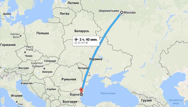 Сколько лететь из Москвы до Варны без пересадок