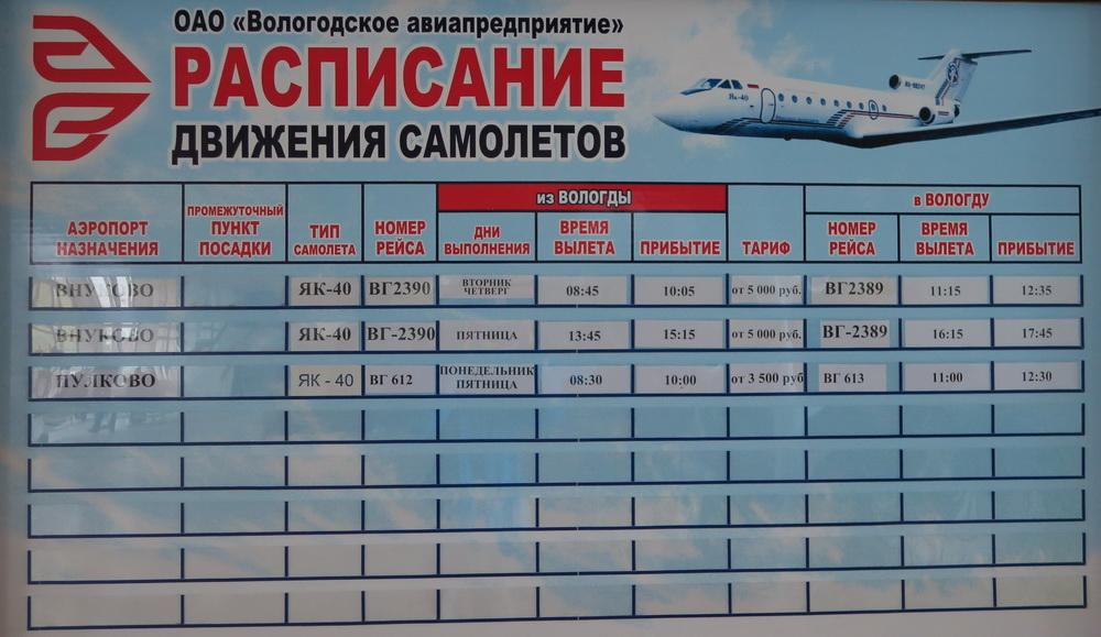 Расписание аэропорта Вологда
