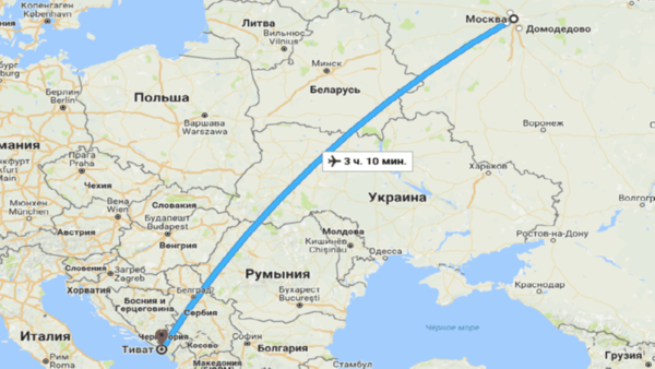 время перелета Москва Черногория