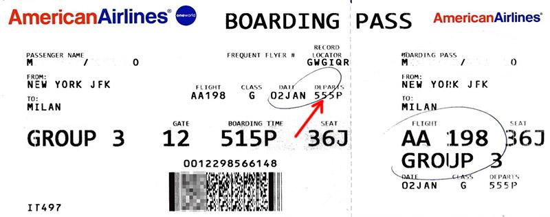 Время вылета в посадочном талоне American Airlines