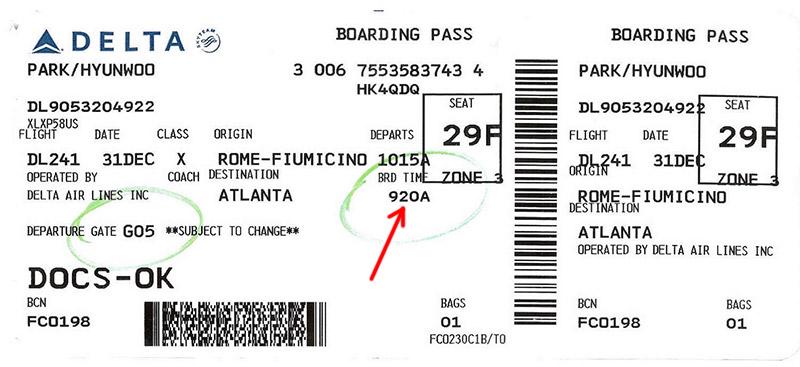 Время вылета в авиабилете Delta