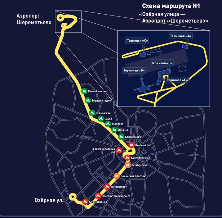 Маршрут ночного автобуса Н1 Москва