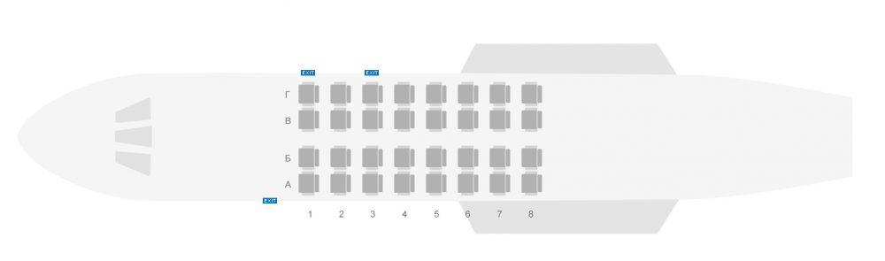 Схема салона самолета Як-40 авиакомпании Северсталь