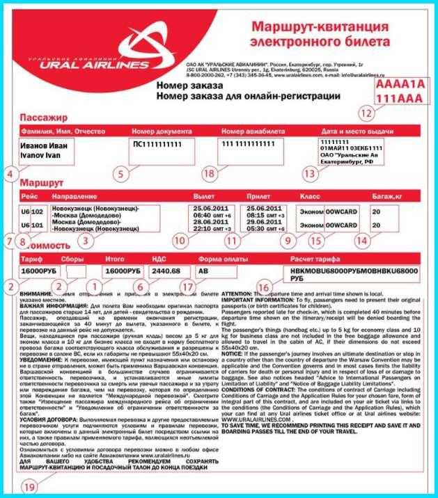 электронный билет Urals Airlines
